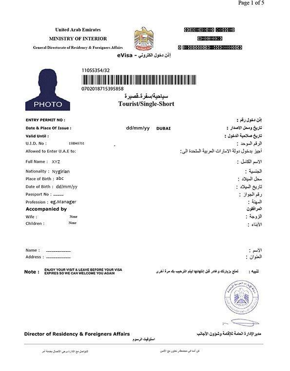 مدارک مورد نیاز برای اخذ ویزای دبی