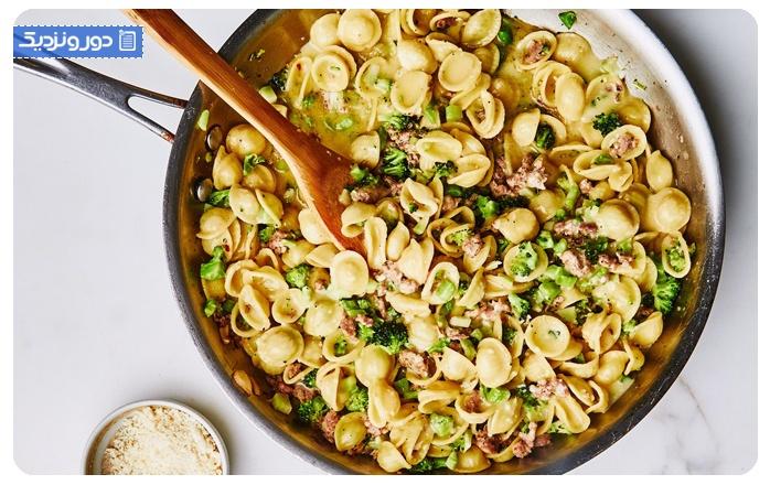 غذاهای ایتالیایی اورکتیتی با کلم بروکلی