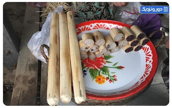 برنج شیرین در بامبو Sticky rice in bamboo
